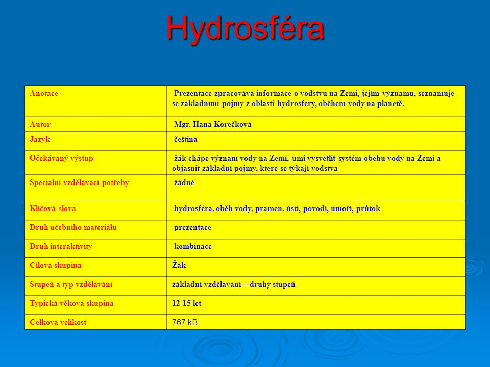 Hydrosféra Anotace.
