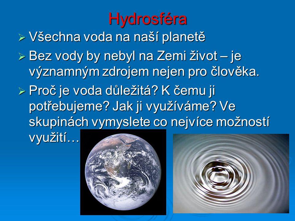 Hydrosféra Všechna voda na naší planetě