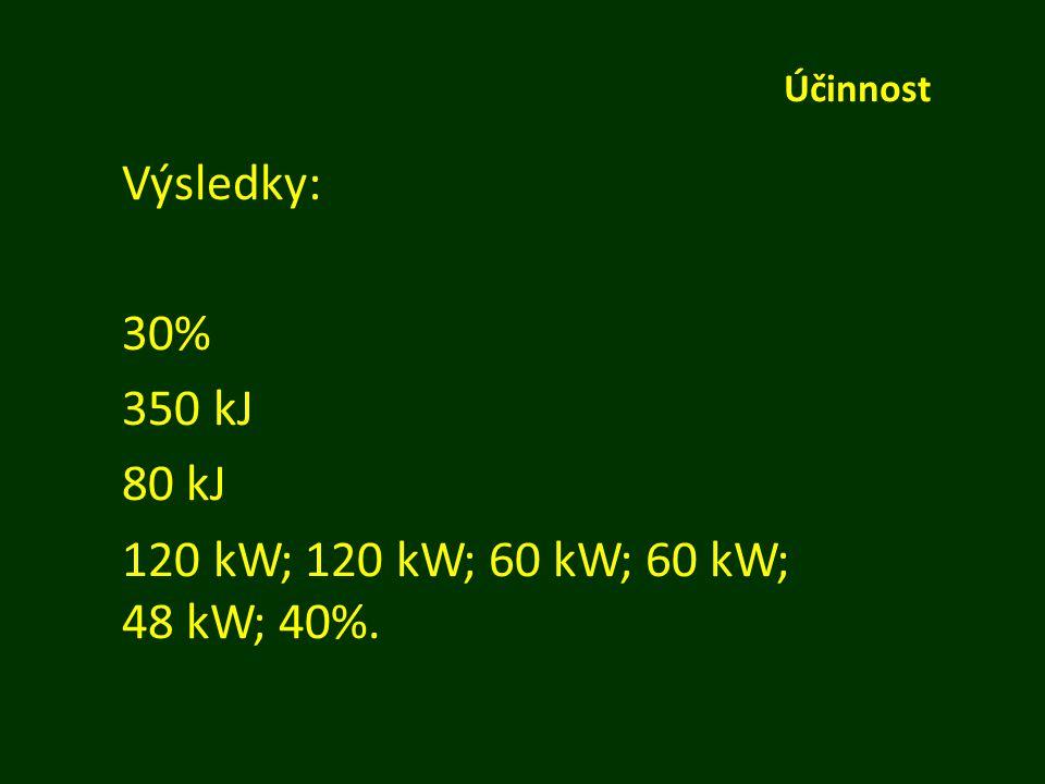 Výsledky: 30% 350 kJ 80 kJ 120 kW; 120 kW; 60 kW; 60 kW; 48 kW; 40%.