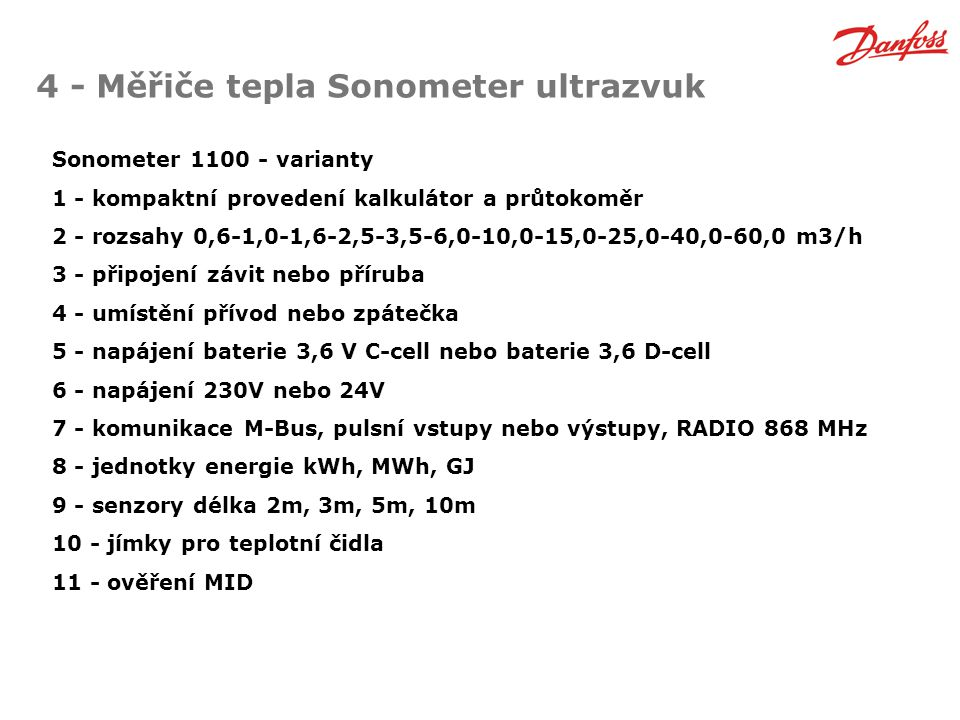 4 - Měřiče tepla Sonometer ultrazvuk