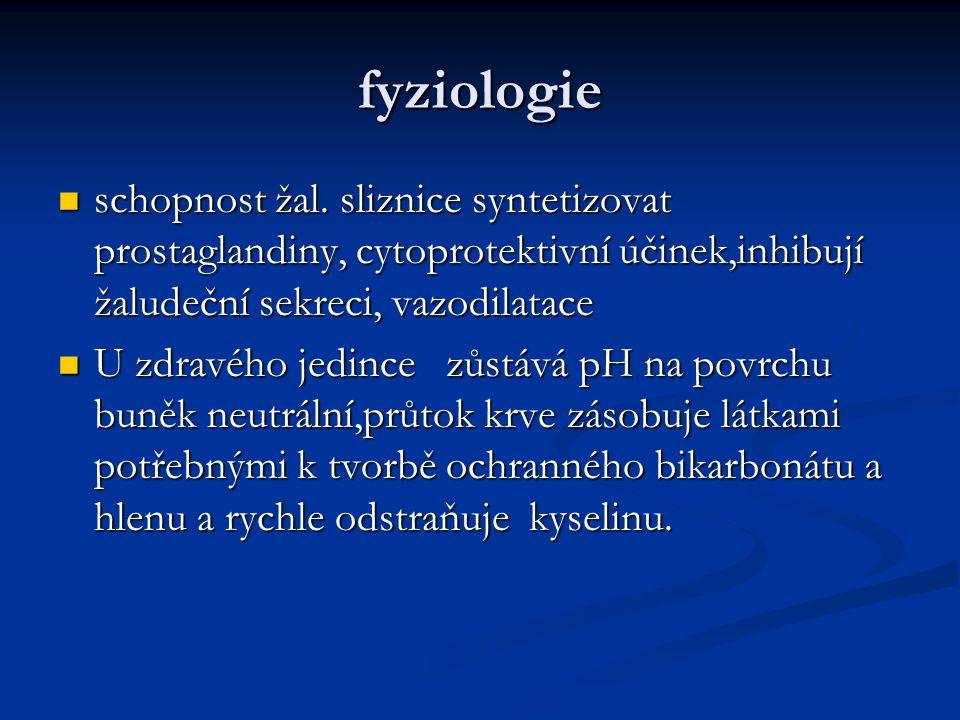 fyziologie schopnost žal. sliznice syntetizovat prostaglandiny, cytoprotektivní účinek,inhibují žaludeční sekreci, vazodilatace.