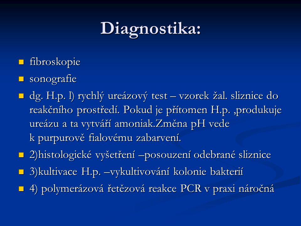 Diagnostika: fibroskopie sonografie