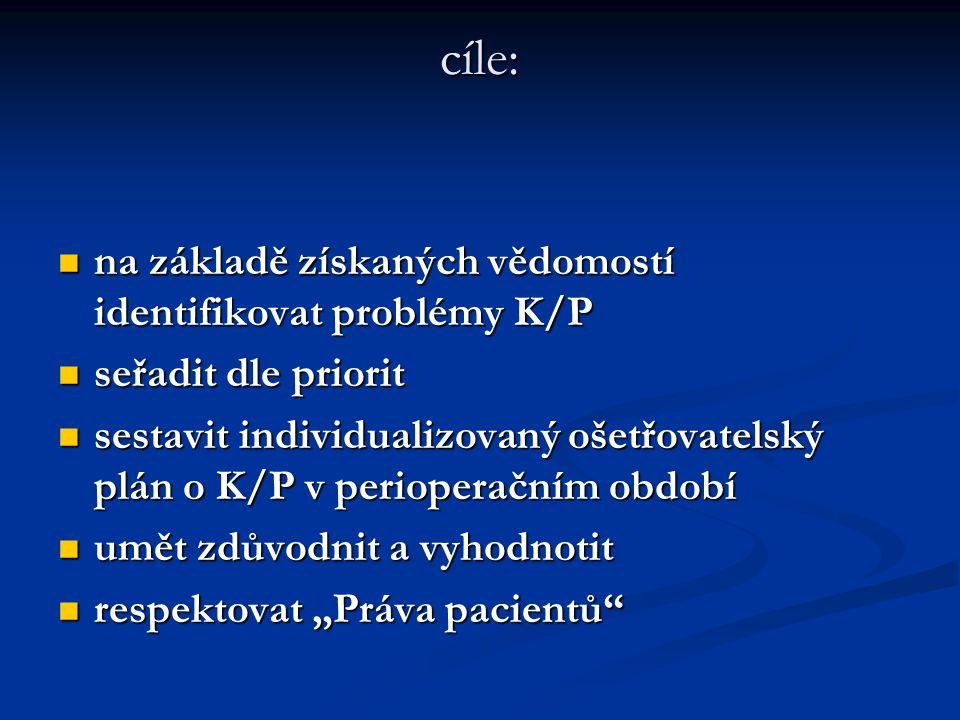 cíle: na základě získaných vědomostí identifikovat problémy K/P