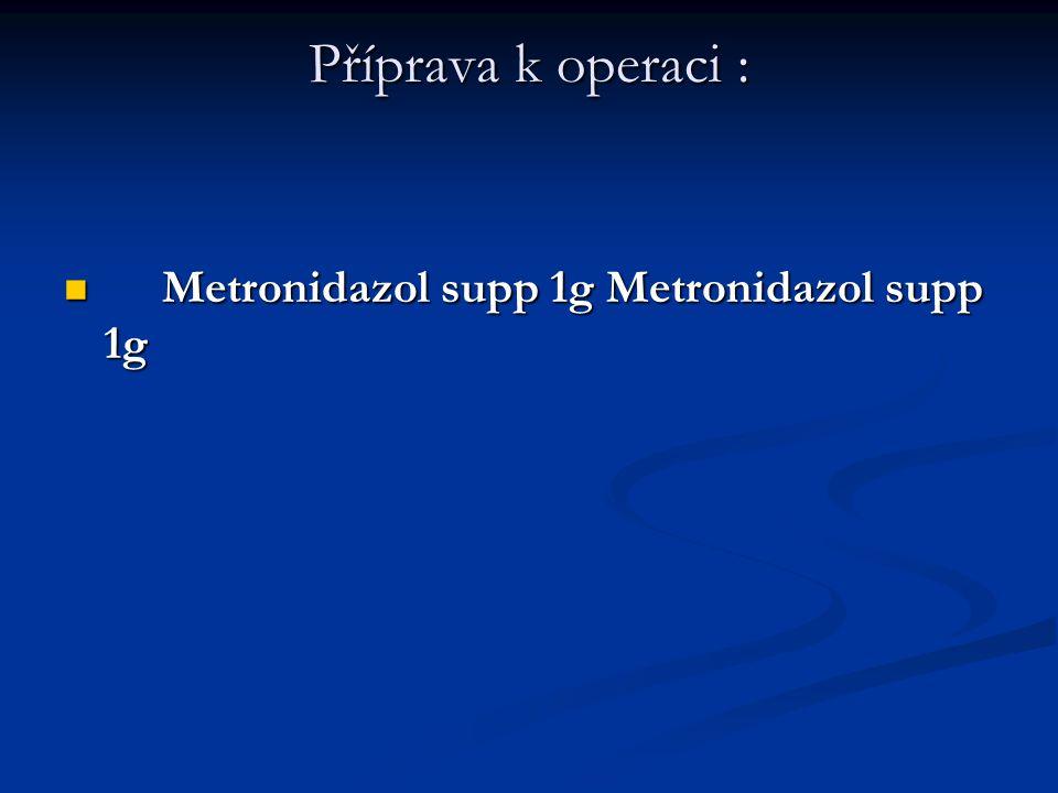 Příprava k operaci : Metronidazol supp 1g Metronidazol supp 1g