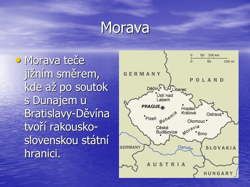 Morava Morava teče jižním směrem, kde až po soutok s Dunajem u Bratislavy-Děvína tvoří rakousko-slovenskou státní hranici.