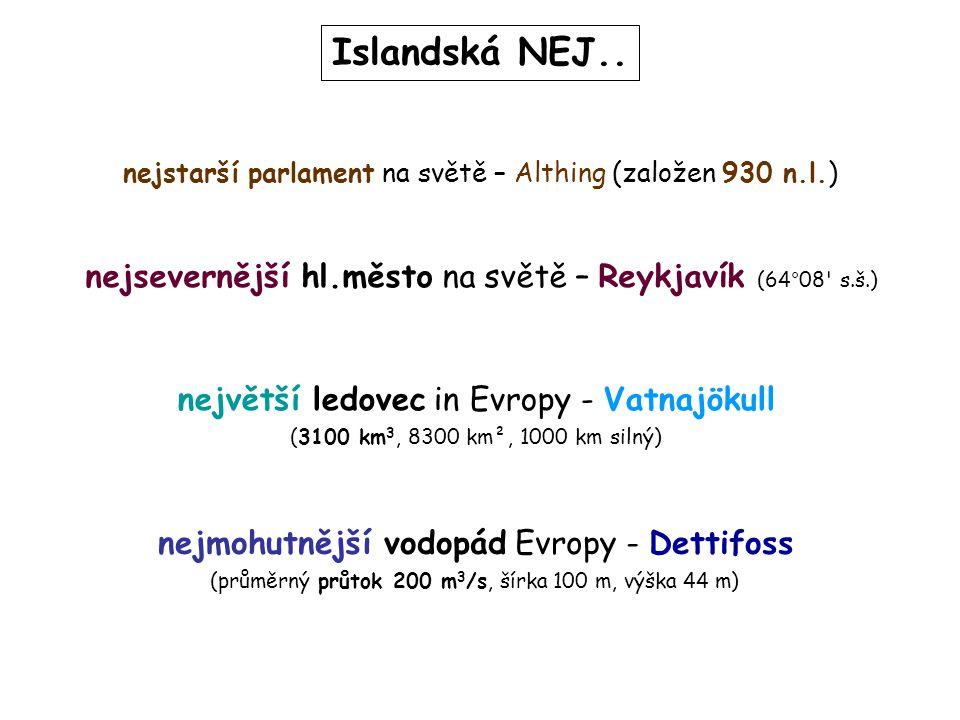 Islandská NEJ.. nejstarší parlament na světě – Althing (založen 930 n.l.) nejsevernější hl.město na světě – Reykjavík (64°08 s.š.)