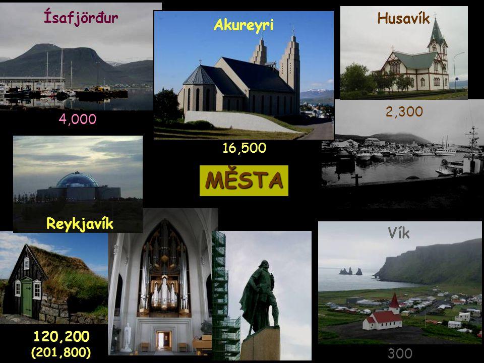 MĚSTA Ísafjörđur Husavík Akureyri Reykjavík Vík 2,300 4,000 16,500
