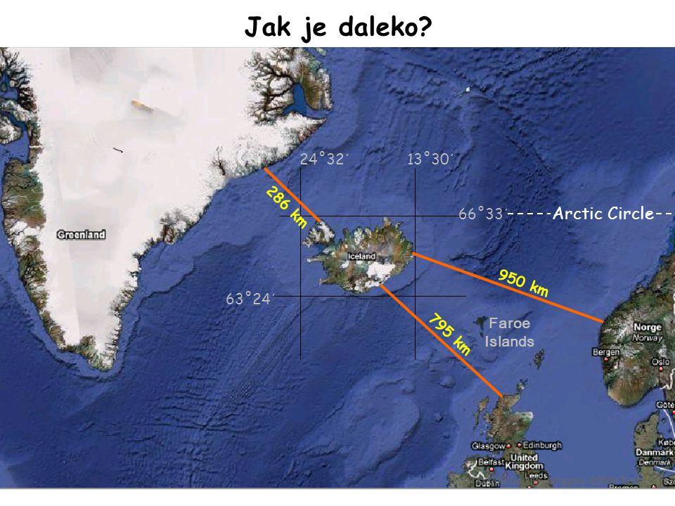 Jak je daleko Arctic Circle 24˚32´ 13˚30´ 286 km 66˚33´ 950 km 63˚24´