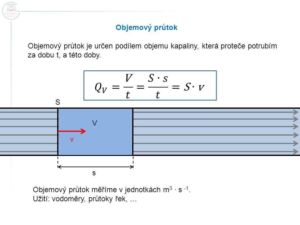 𝑄 𝑉 = V 𝑡 = 𝑆∙𝑠 𝑡 =S∙v Objemový průtok