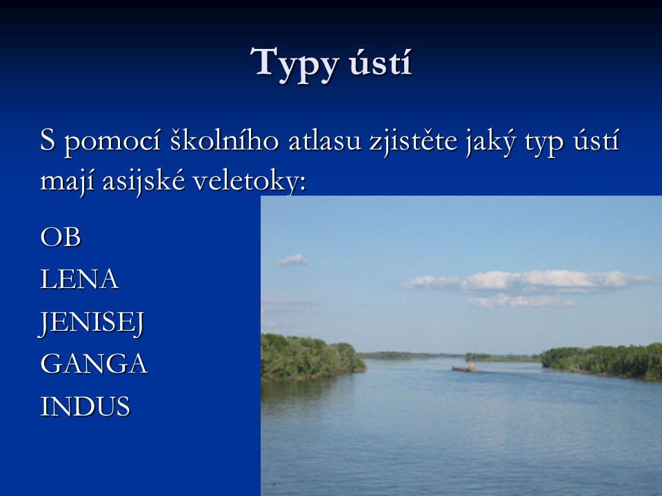 Typy ústí S pomocí školního atlasu zjistěte jaký typ ústí mají asijské veletoky: OB. LENA. JENISEJ.