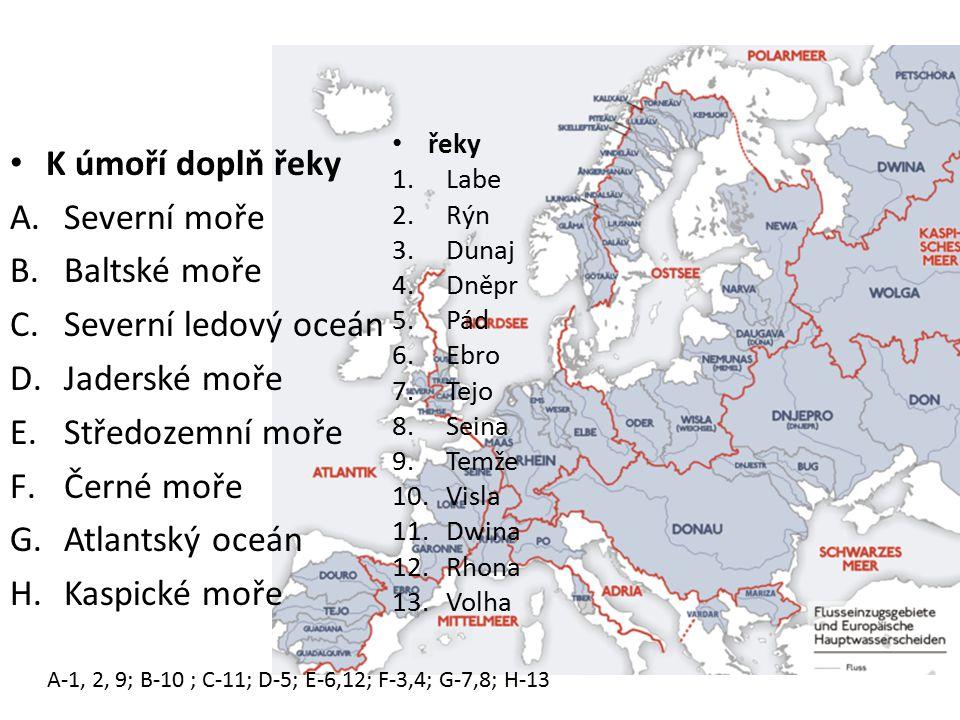 Vodstvo K úmoří doplň řeky Severní moře Baltské moře