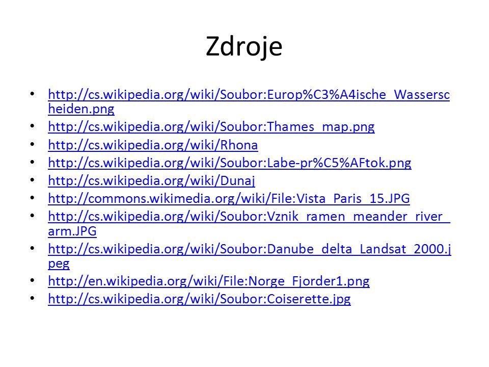 Zdroje http://cs.wikipedia.org/wiki/Soubor:Europ%C3%A4ische_Wasserscheiden.png. http://cs.wikipedia.org/wiki/Soubor:Thames_map.png.