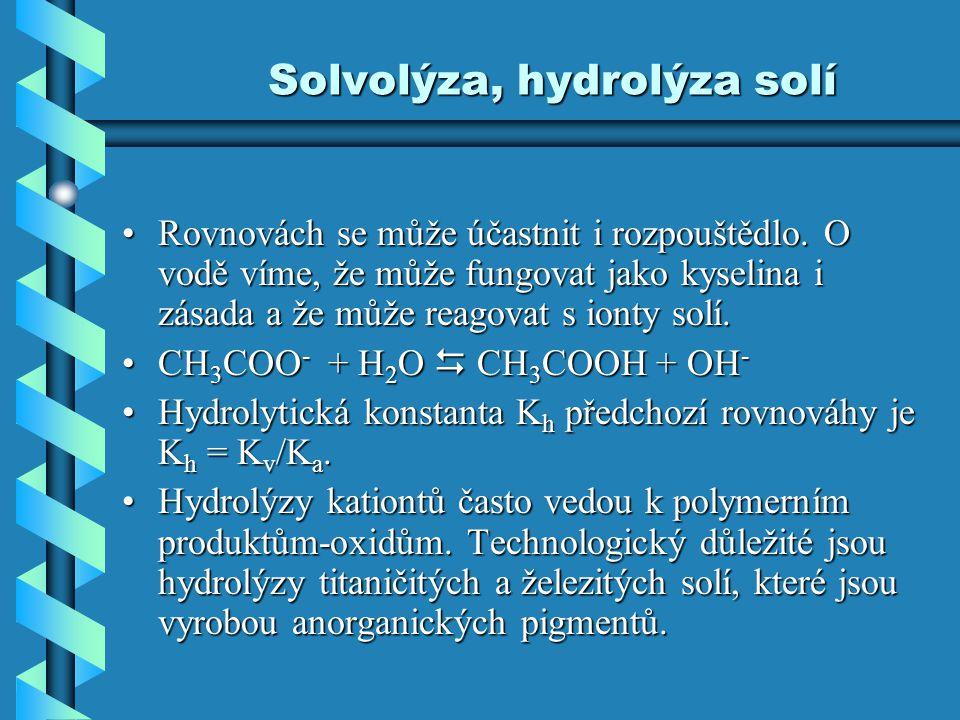 Solvolýza, hydrolýza solí