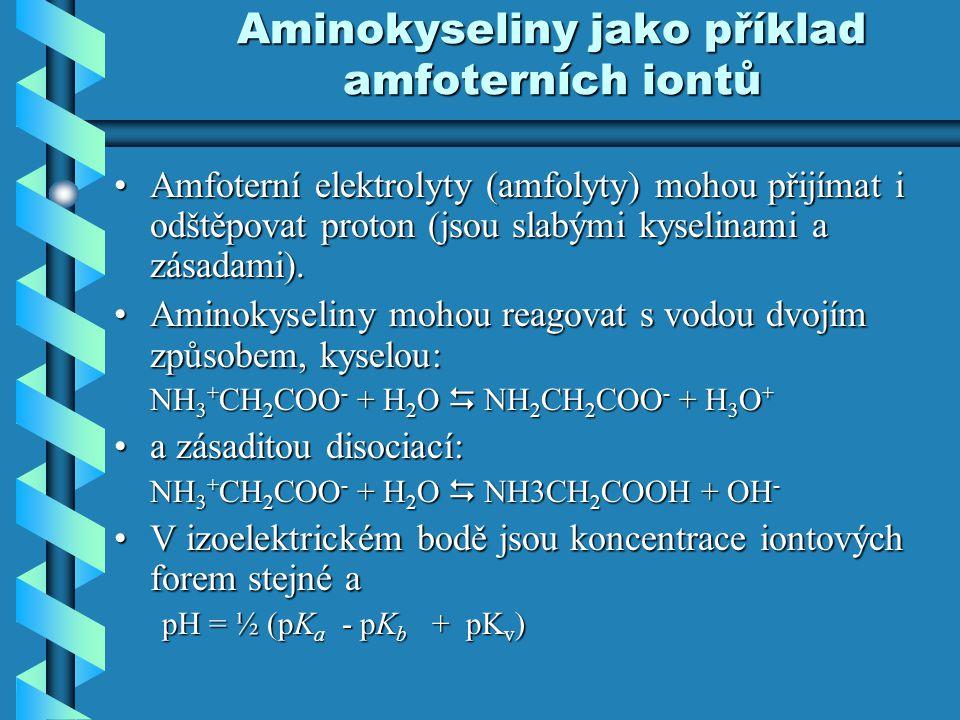 Aminokyseliny jako příklad amfoterních iontů