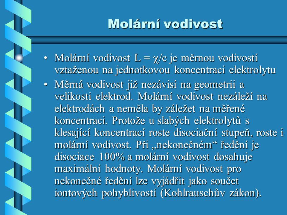Molární vodivost Molární vodivost L = /c je měrnou vodivostí vztaženou na jednotkovou koncentraci elektrolytu.