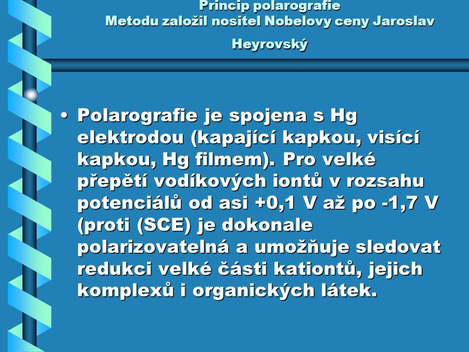 Princip polarografie Metodu založil nositel Nobelovy ceny Jaroslav Heyrovský