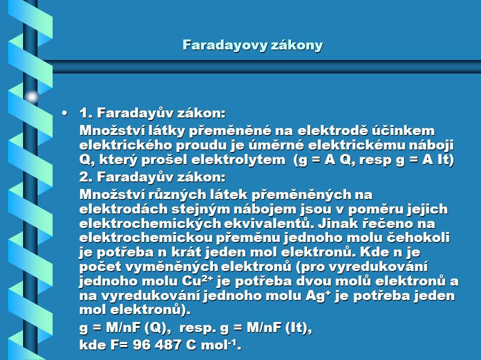 Faradayovy zákony 1. Faradayův zákon: