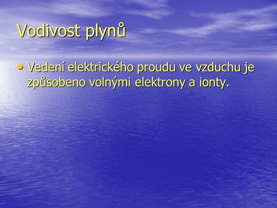 Vodivost plynů Vedení elektrického proudu ve vzduchu je způsobeno volnými elektrony a ionty.