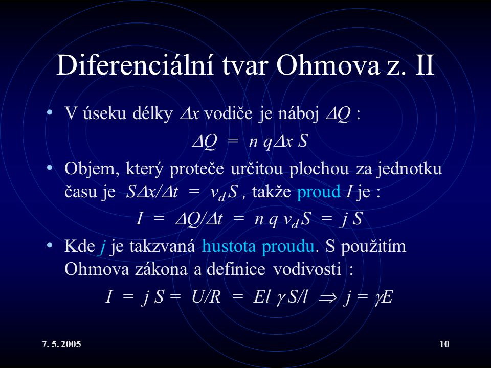 Diferenciální tvar Ohmova z. II