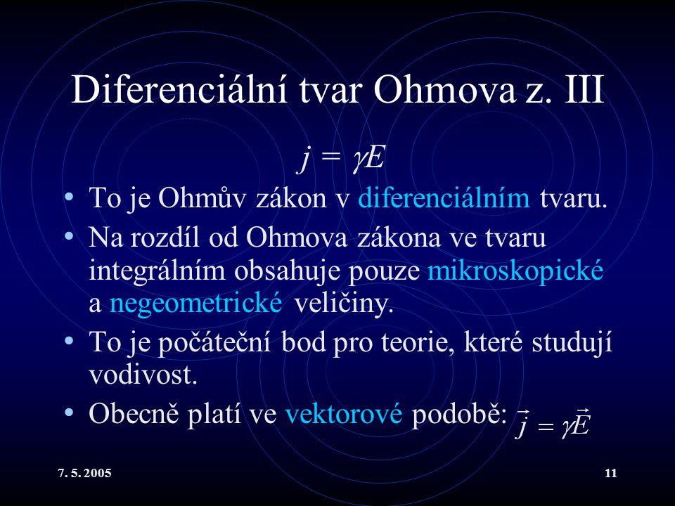 Diferenciální tvar Ohmova z. III