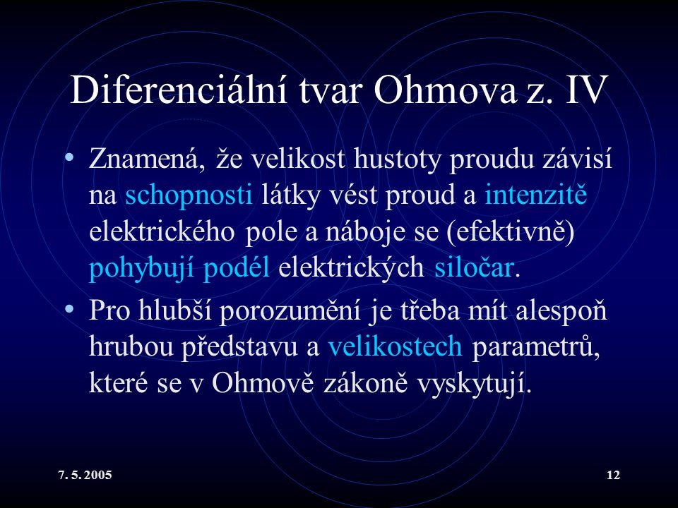 Diferenciální tvar Ohmova z. IV