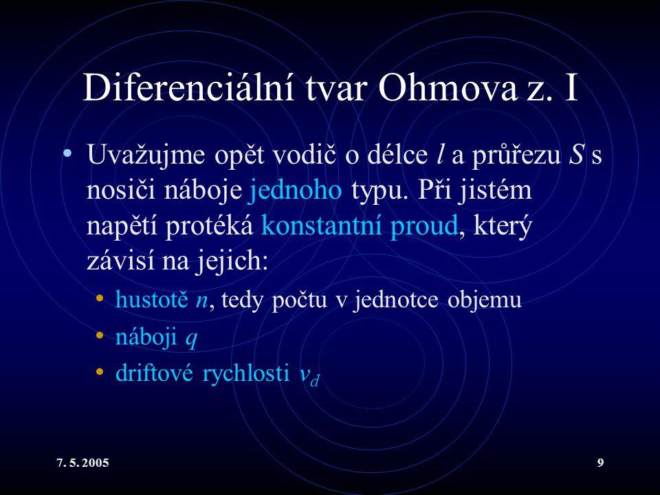 Diferenciální tvar Ohmova z. I