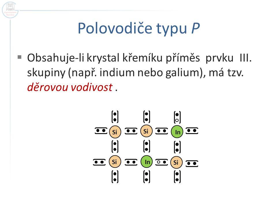 Polovodiče typu P Obsahuje-li krystal křemíku příměs prvku III. skupiny (např. indium nebo galium), má tzv. děrovou vodivost .
