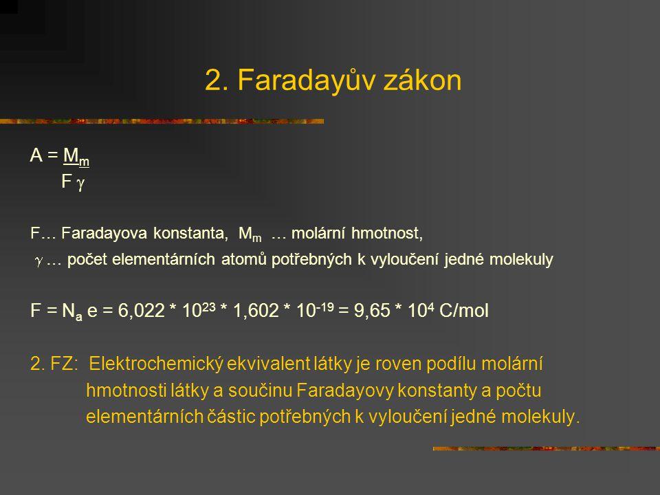 2. Faradayův zákon A = Mm F 