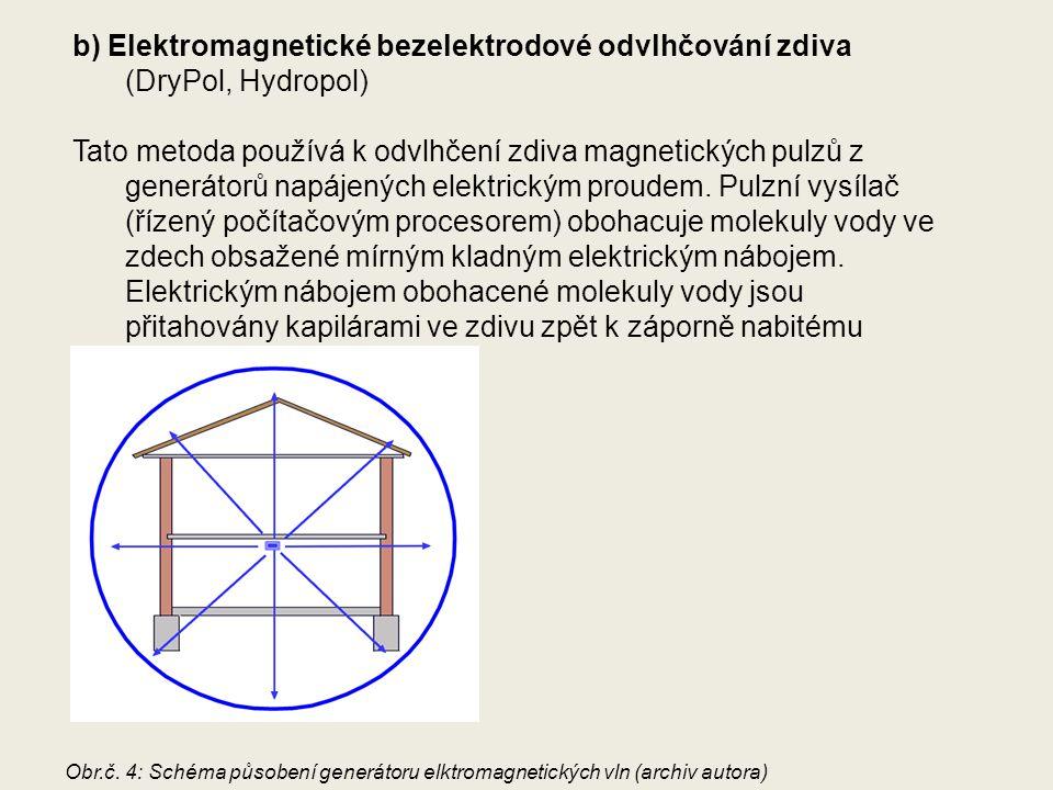 b) Elektromagnetické bezelektrodové odvlhčování zdiva (DryPol, Hydropol)
