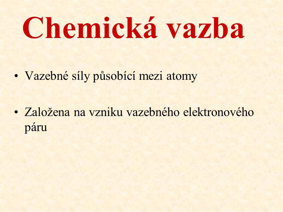 Chemická vazba Vazebné síly působící mezi atomy