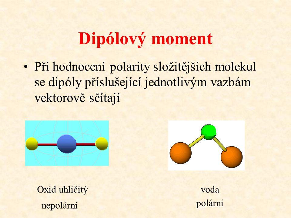 Dipólový moment Při hodnocení polarity složitějších molekul se dipóly příslušející jednotlivým vazbám vektorově sčítají.
