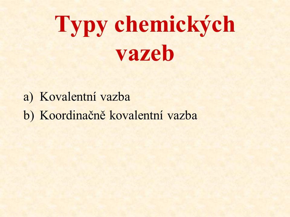 Typy chemických vazeb Kovalentní vazba Koordinačně kovalentní vazba