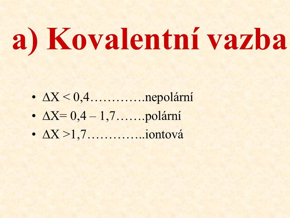 a) Kovalentní vazba ∆X < 0,4………….nepolární ∆X= 0,4 – 1,7…….polární