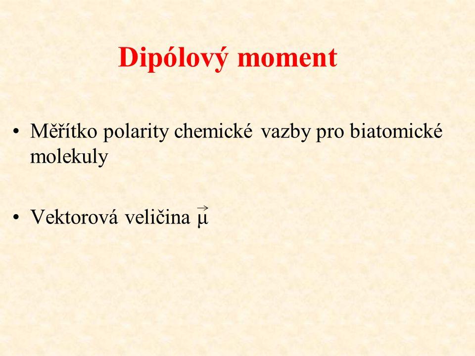 Dipólový moment Měřítko polarity chemické vazby pro biatomické molekuly. Vektorová veličina μ.