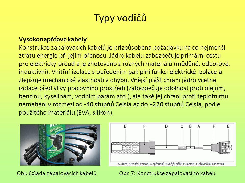 Typy vodičů Vysokonapěťové kabely
