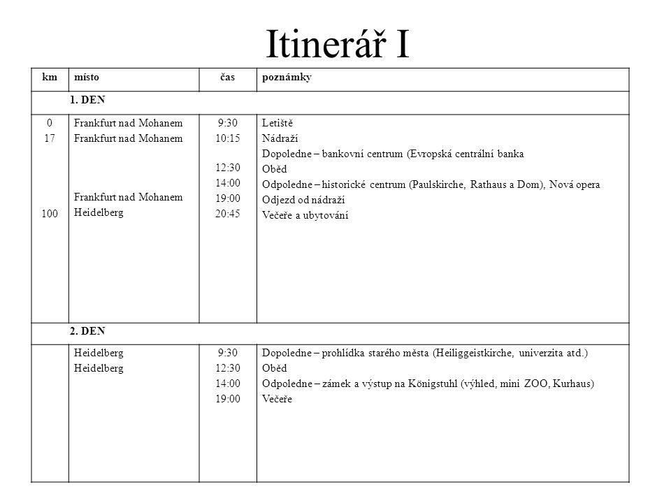 Itinerář I km místo čas poznámky 1. DEN 17 100 Frankfurt nad Mohanem