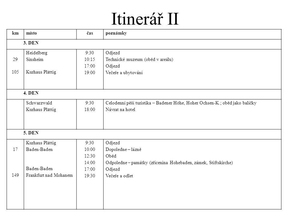 Itinerář II km místo čas poznámky 3. DEN 29 105 Heidelberg Sinsheim