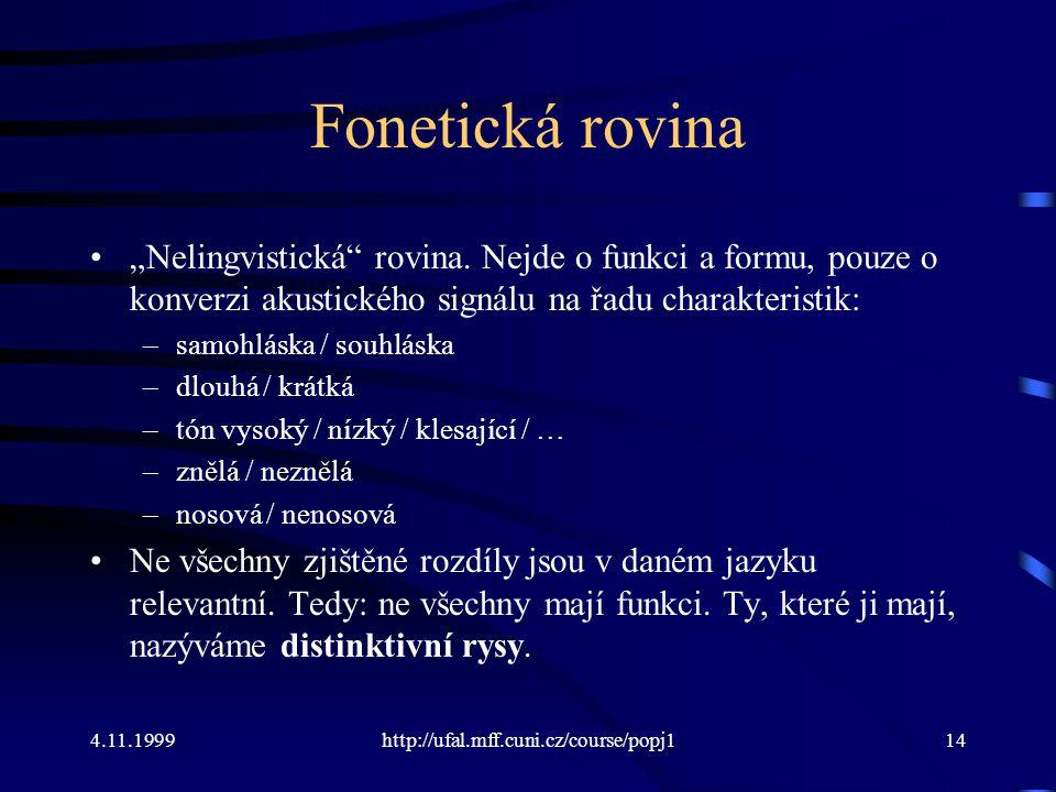 """Fonetická rovina """"Nelingvistická rovina. Nejde o funkci a formu, pouze o konverzi akustického signálu na řadu charakteristik:"""