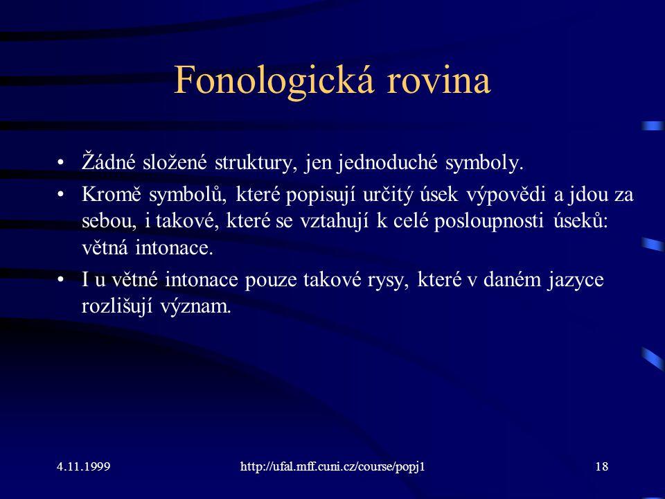 Fonologická rovina Žádné složené struktury, jen jednoduché symboly.