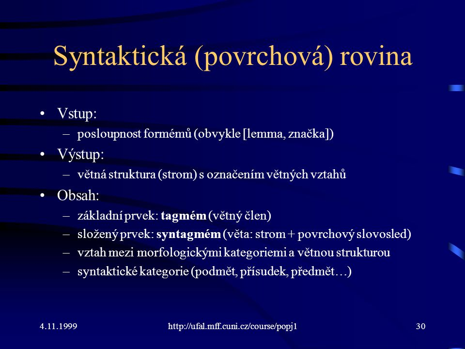 Syntaktická (povrchová) rovina