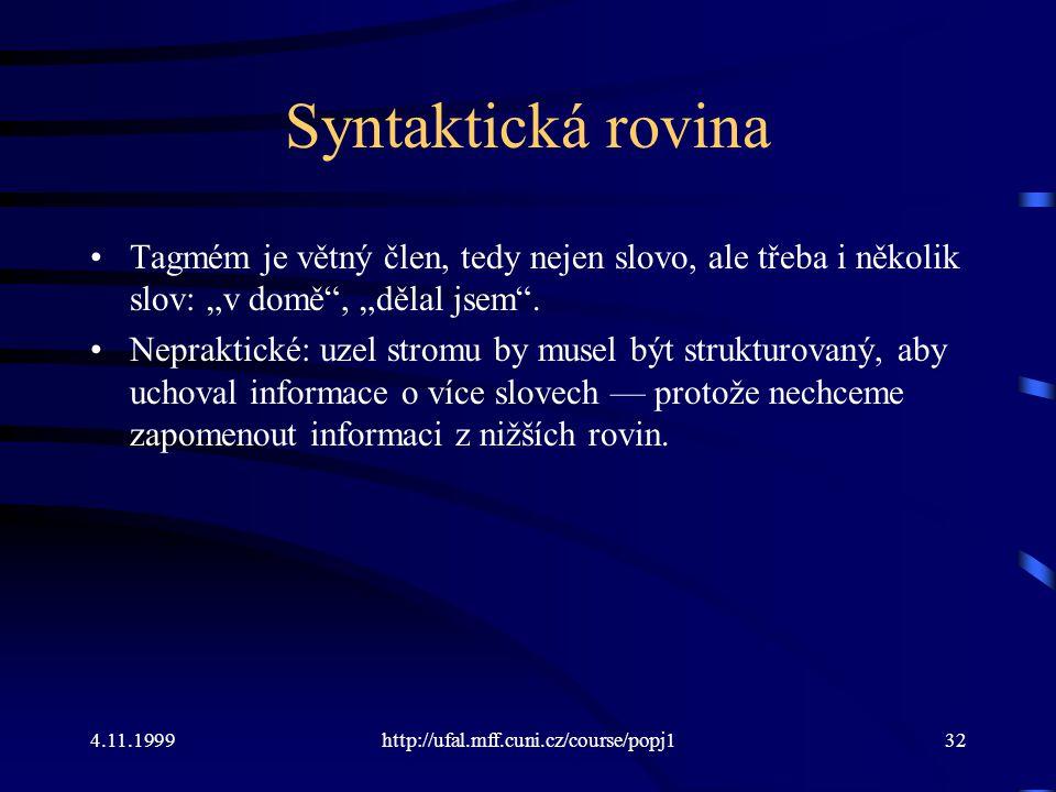 """Syntaktická rovina Tagmém je větný člen, tedy nejen slovo, ale třeba i několik slov: """"v domě , """"dělal jsem ."""