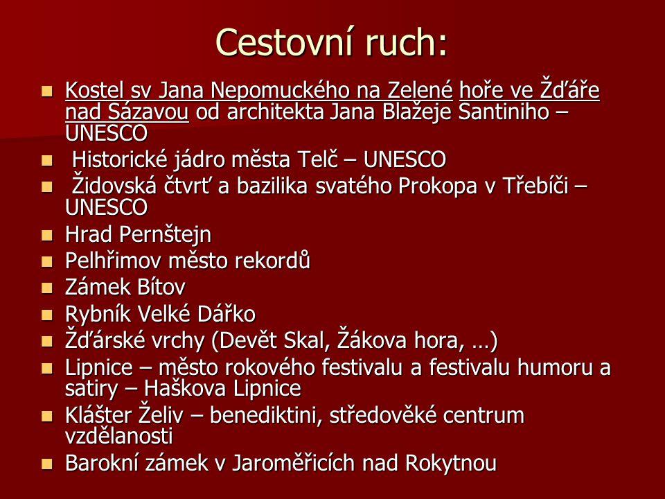 Cestovní ruch: Kostel sv Jana Nepomuckého na Zelené hoře ve Žďáře nad Sázavou od architekta Jana Blažeje Santiniho – UNESCO.