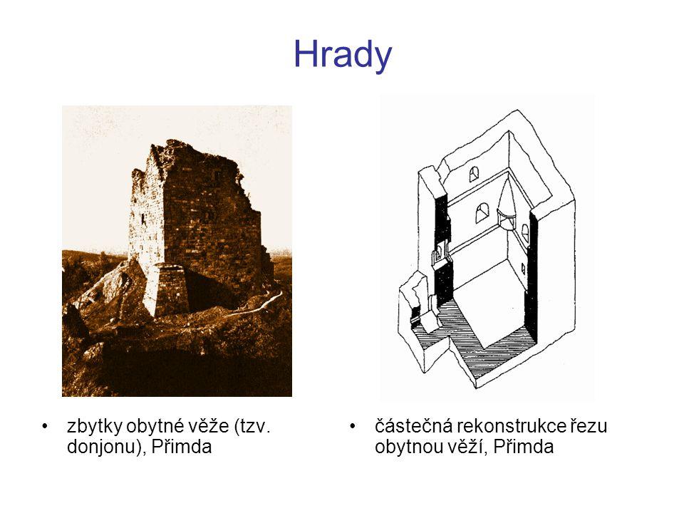 Hrady zbytky obytné věže (tzv. donjonu), Přimda
