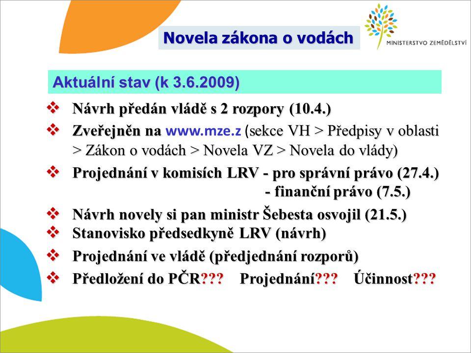 Novela zákona o vodách Návrh předán vládě s 2 rozpory (10.4.)