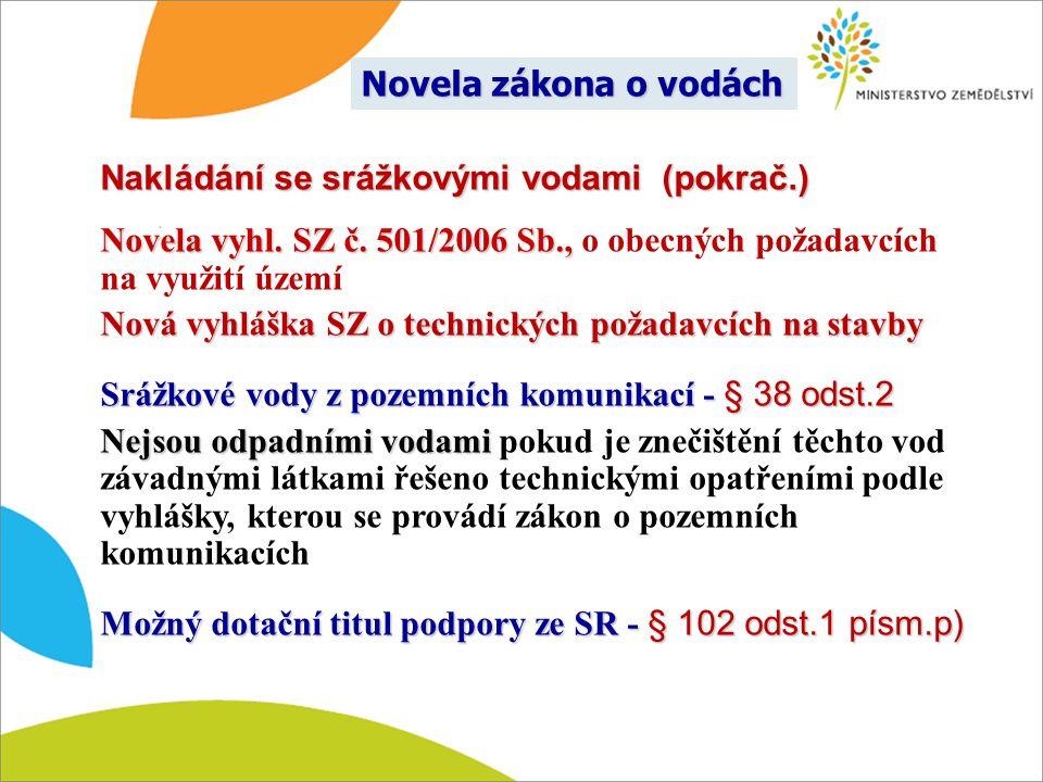 Novela zákona o vodách Nakládání se srážkovými vodami (pokrač.) Novela vyhl. SZ č. 501/2006 Sb., o obecných požadavcích na využití území.