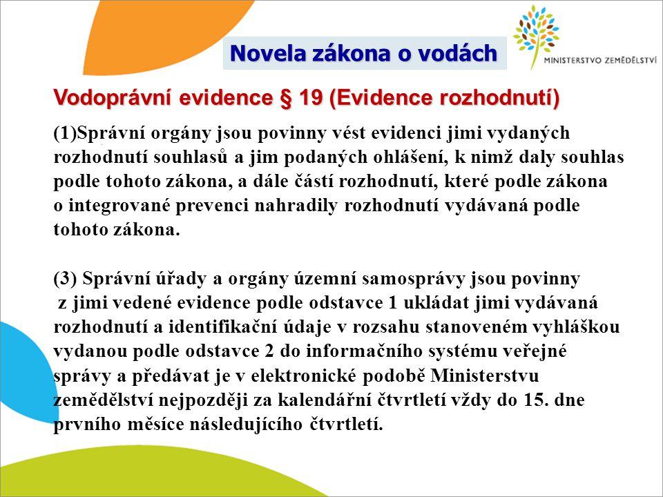 Vodoprávní evidence § 19 (Evidence rozhodnutí)