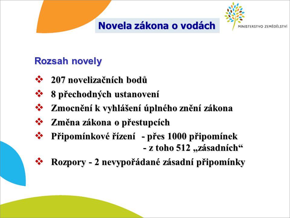 Novela zákona o vodách Rozsah novely. 207 novelizačních bodů. 8 přechodných ustanovení. Zmocnění k vyhlášení úplného znění zákona.