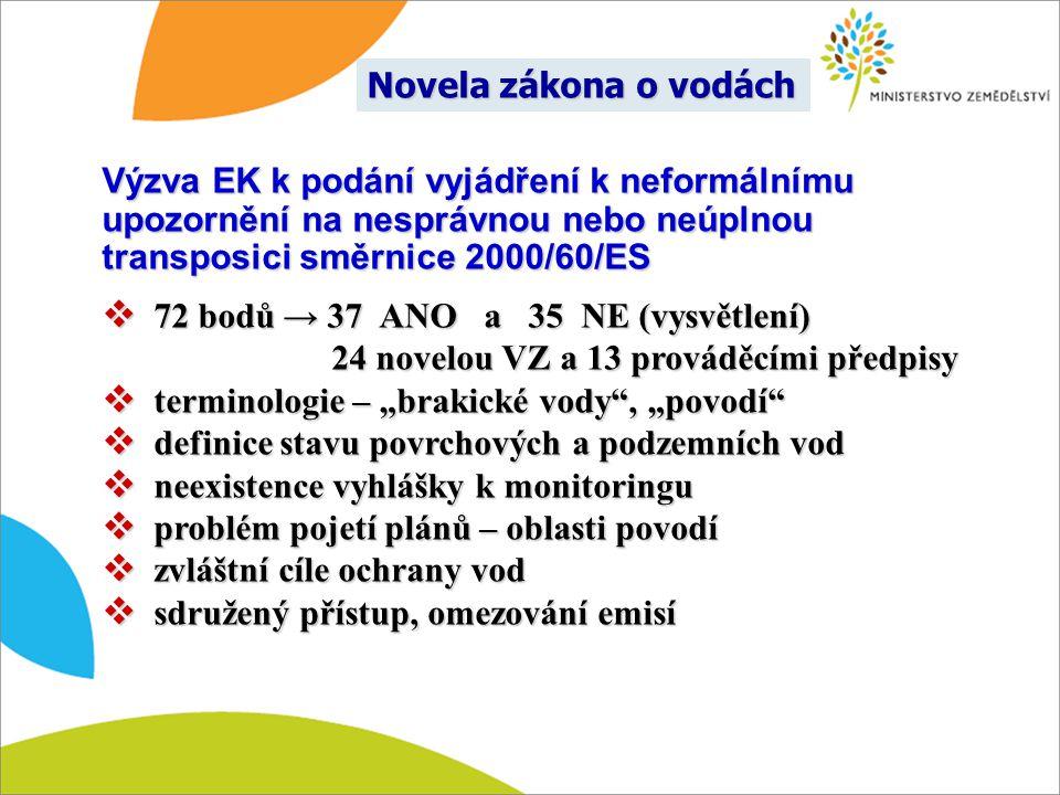 Novela zákona o vodách Výzva EK k podání vyjádření k neformálnímu upozornění na nesprávnou nebo neúplnou transposici směrnice 2000/60/ES.