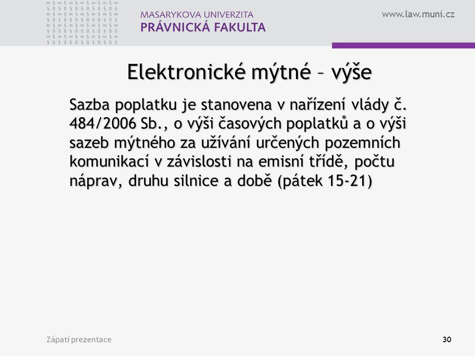 Elektronické mýtné – výše