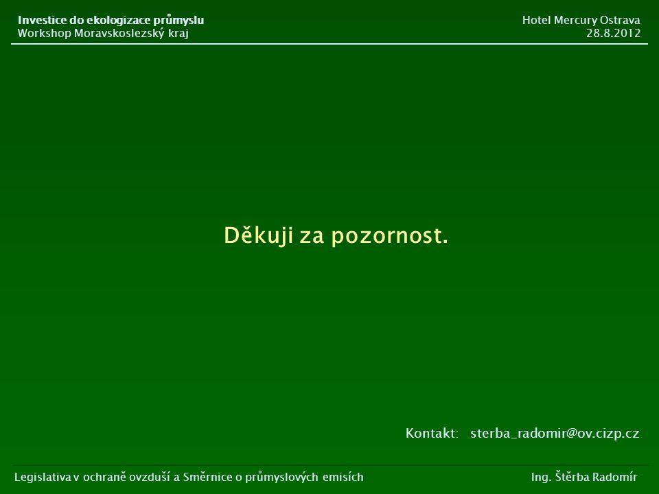 Děkuji za pozornost. Kontakt: sterba_radomir@ov.cizp.cz